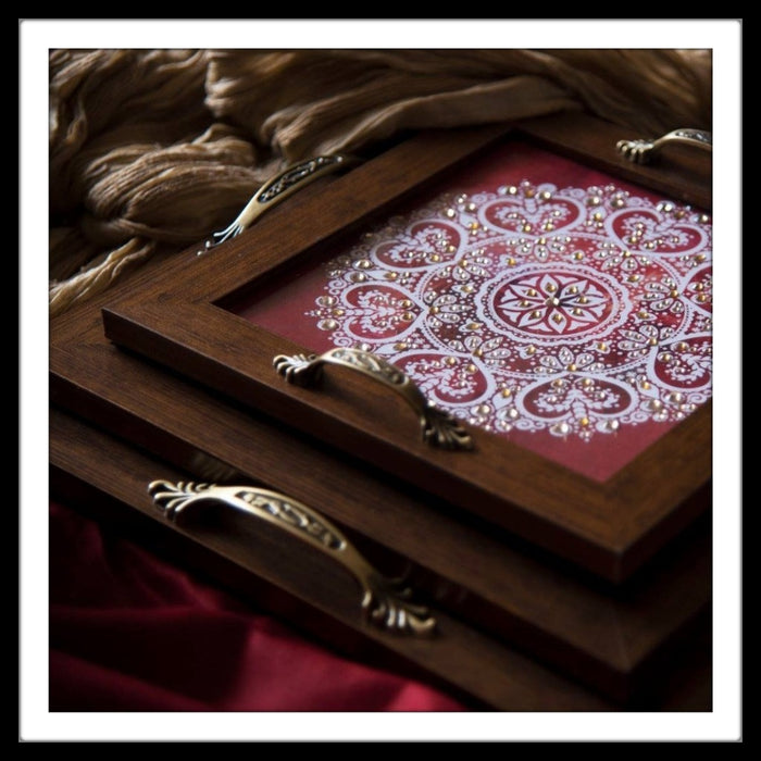 Red And White Square Mandala Tray Set (3) - Footprints Forever