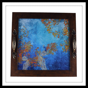 Blue Peacock pair sitting on tree print square tray for gifting and home