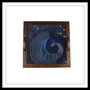 bedazzled blue square Peacock tray for home decor and gifting