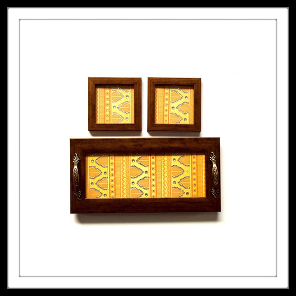 YELLOW HENNA TRAY & 2 COASTERS SET