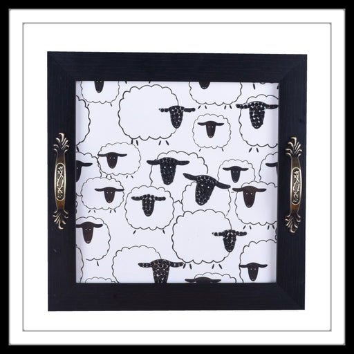 Baa Baa Black Sheep Square Tray - Footprints Forever