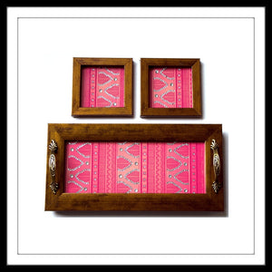 PEACH HENNA TRAY & 2 COASTERS SET