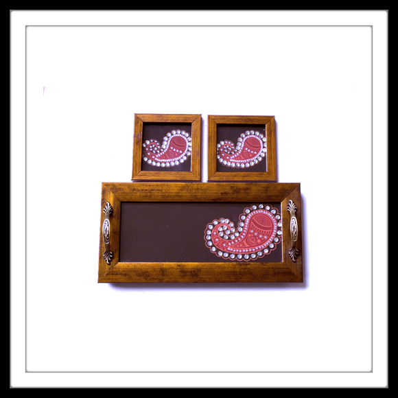 MAROON PAISLEY TRAY & 2 COASTERS SET