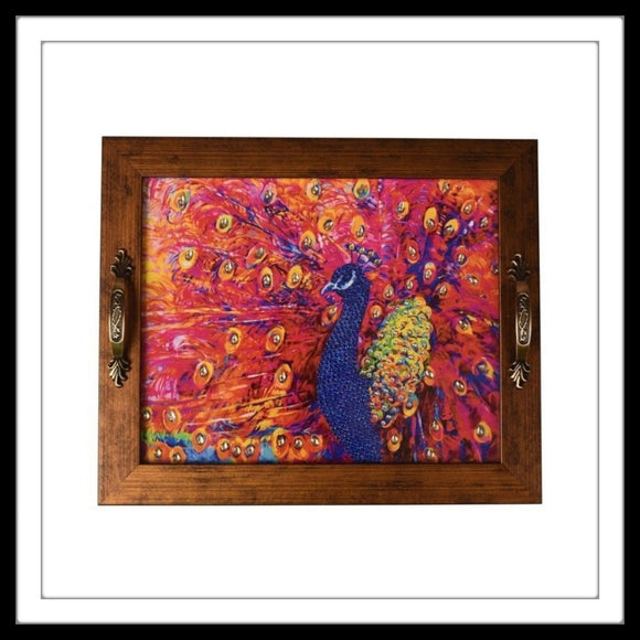 bright hot pink peacock print rectangular tray for gifting
