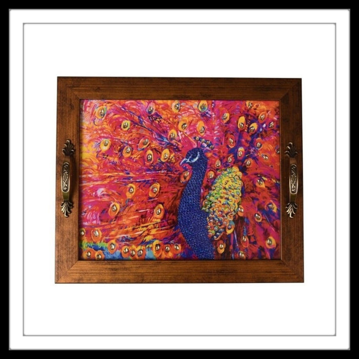 Hot Pink Peacock Rectangular Tray - Footprints Forever