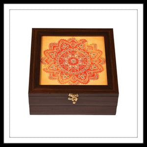 Decorative bangle box with mandala print in yellow background for gifting
