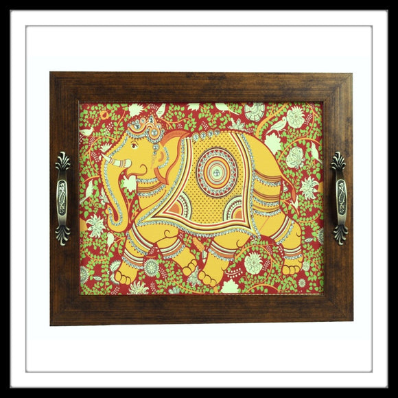 Indian kalamkari print bedazzled elephant rectangular tray for home and gifting