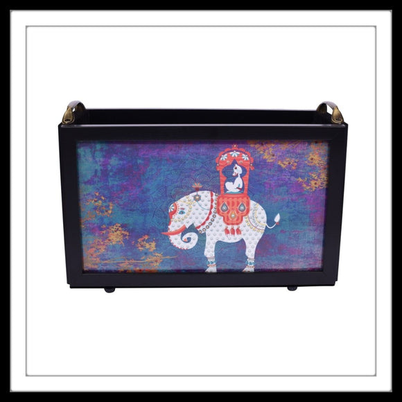 Blue background white elephant with maharaja magazine rack