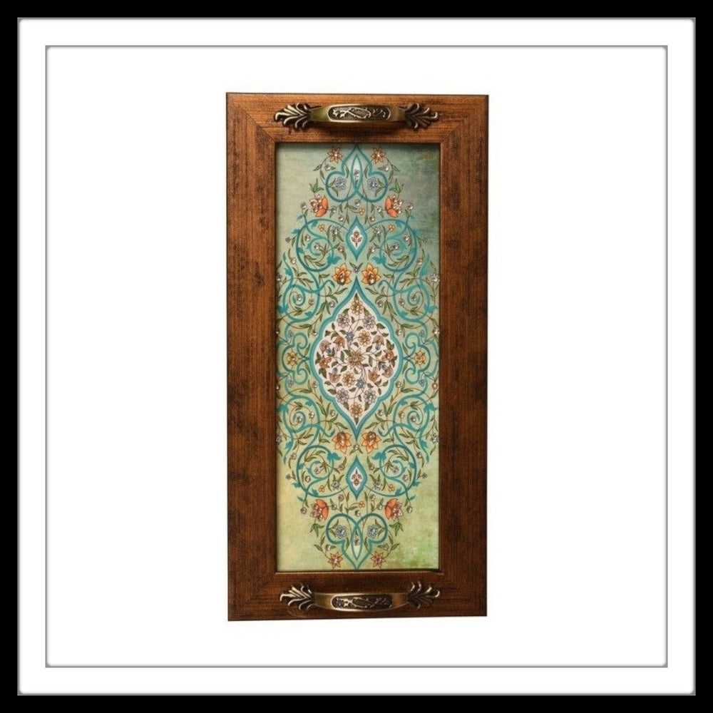 Light Green Mughal Motif Long Tray - Footprints Forever