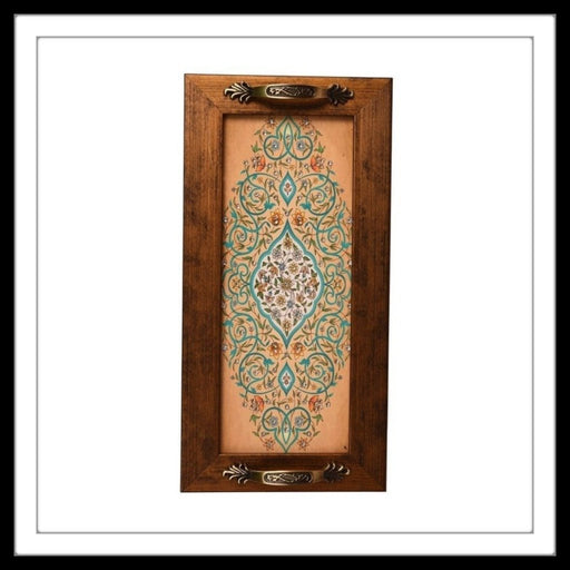 Beige Mughal Motif Long Tray - Footprints Forever