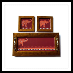 Red background elephant print bedazzled tray and 2 coaster set