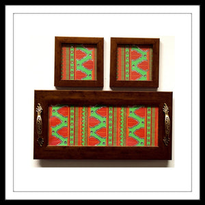 GREEN AND ORANGE HENNA TRAY & 2 COASTERS SET
