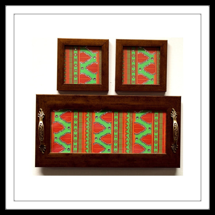GREEN AND ORANGE HENNA TRAY & 2 COASTERS SET - Footprints Forever