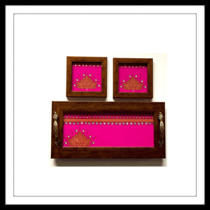 PINK LOTUS TRAY & 2 COASTERS SET