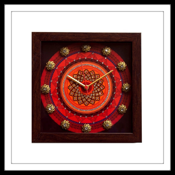 Square Clock with Red mandala print on black background hand embellished with crystals and brass stones. Ideal for gifting.