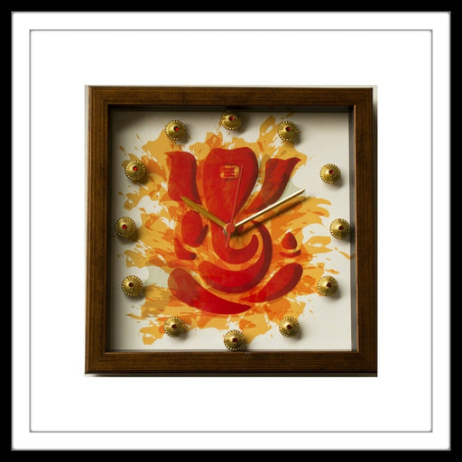 Handmade White and Red Ganesha Clock embellished with crystals and brass stones