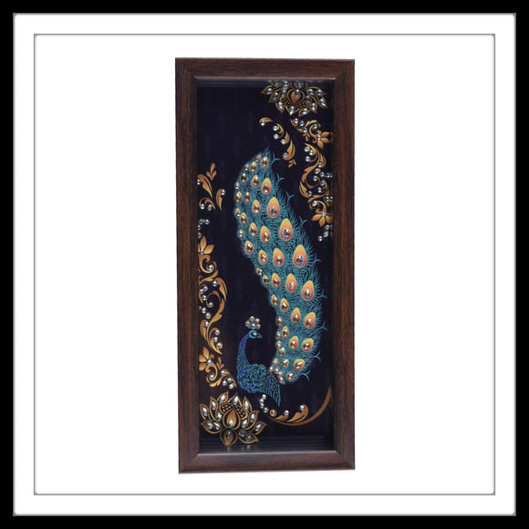 Handmade wooden tray with the image of a navy blue peacock with golden embellishments