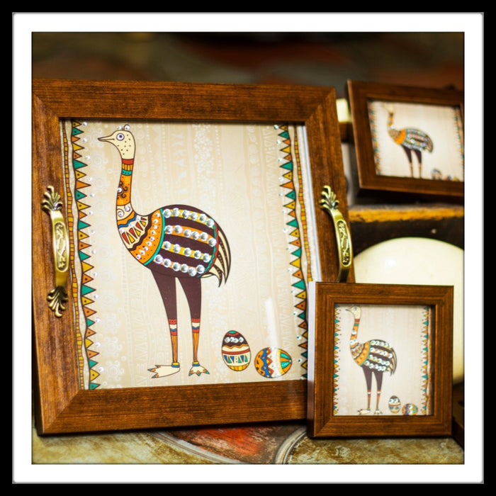 Ostrich Tray with Coasters - Footprints Forever