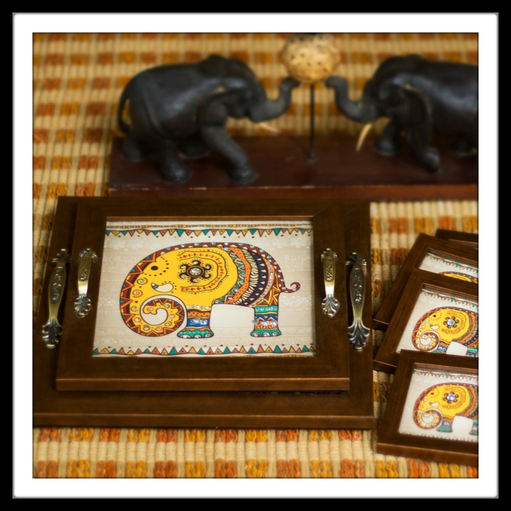 Elephant Trays with Coasters - Footprints Forever