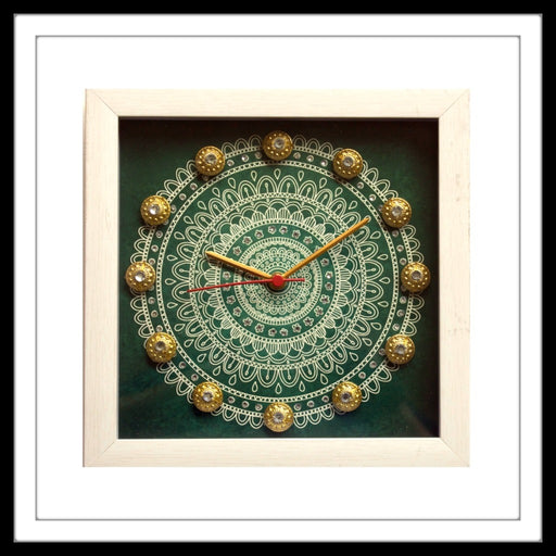 Green & White Mandala Clock - Footprints Forever