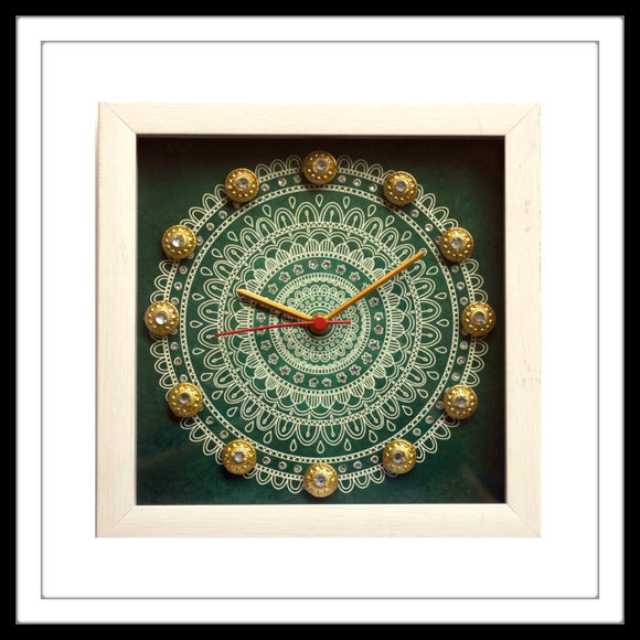 Green & White Mandala Clock