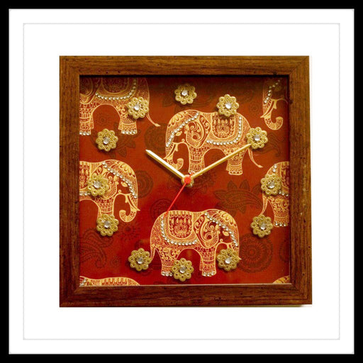 Square Red Elephant print bedazzled clock for gifting and home use.
