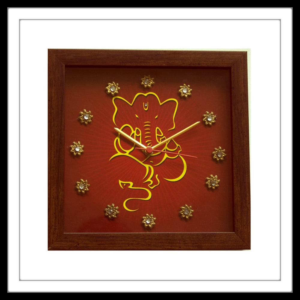 Square Clock with Yellow Lord Ganesha print on red background hand embellished with crystals and brass stones. Ideal for gifting.