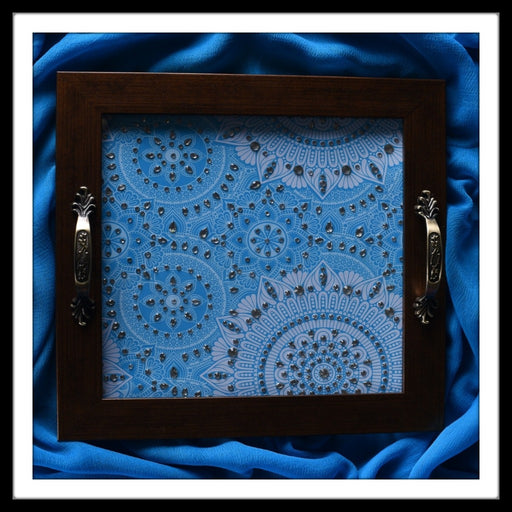 Blue Arabesque Square Tray