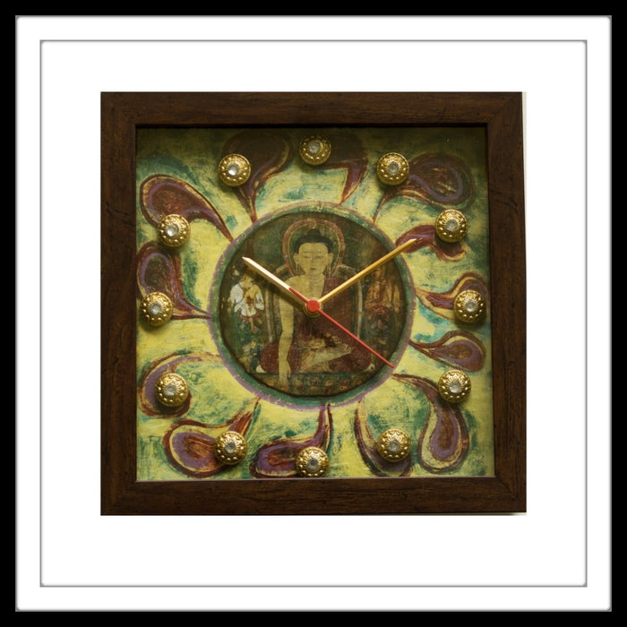 Green Buddha Clock - Footprints Forever