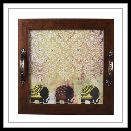 handmade wooden square tray with bright print of three elephants, hand embellished with crystals.
