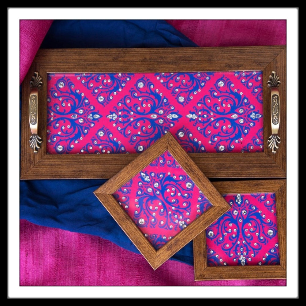 Handmade pink and blue tray and coasters set with crystal work, suitable for gifting and weddings