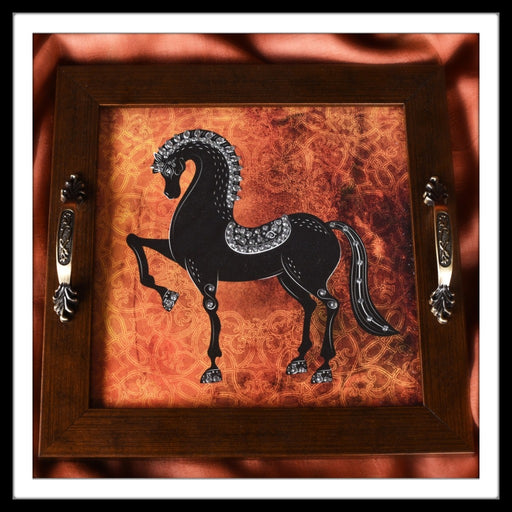 handmade wooden square tray with rust background and black horse image embellished with stones