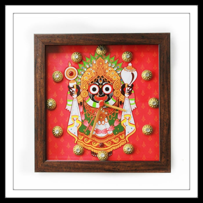 Handmade Red Lord Jagganath Clock embellished with crystals and brass stones.
