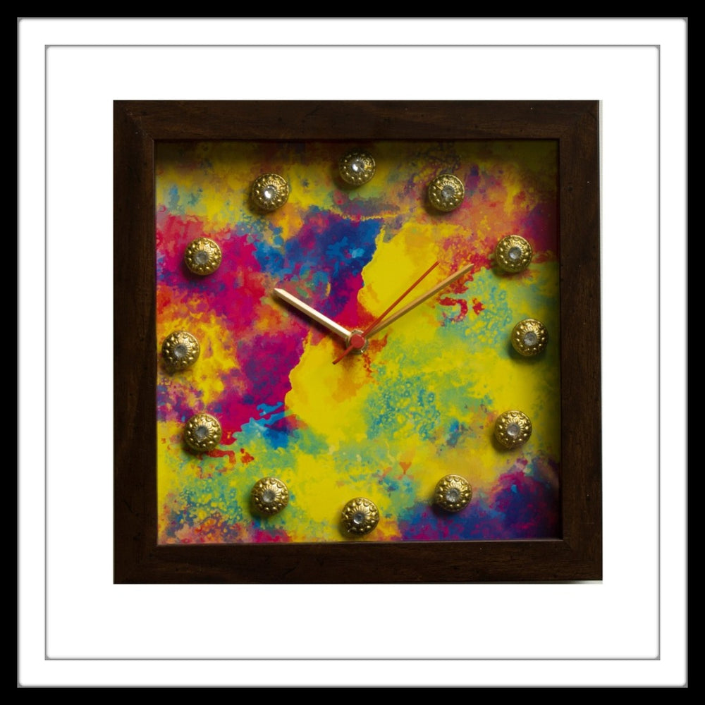 Colourful Holi Clock - Footprints Forever