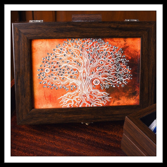 Tree of life print bedazzled tea chest
