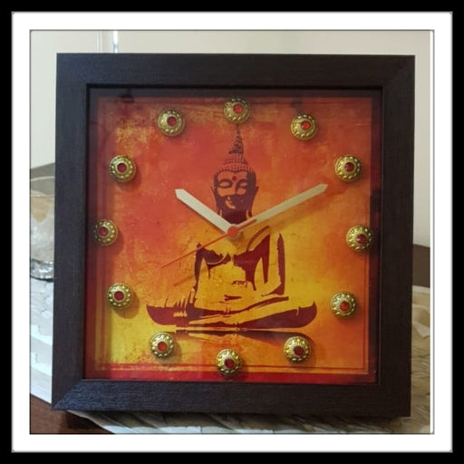 Red Buddha Clock - Footprints Forever