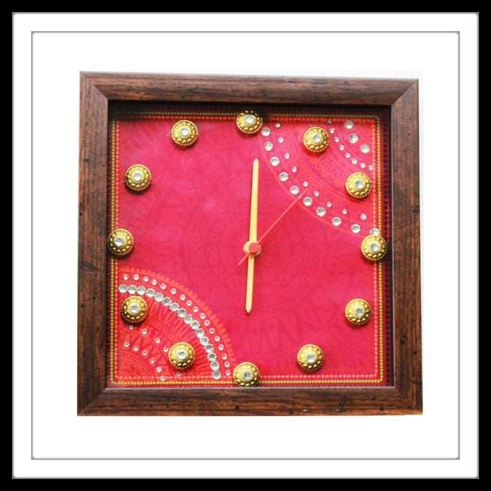 Pink Bedazzled Clock - Footprints Forever