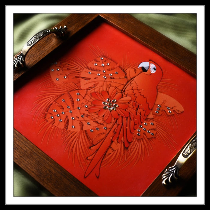 Parrot Square Tray - Footprints Forever