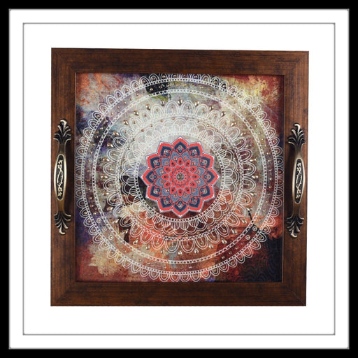 handmade wooden abstract background with white mandala  tray with mandalas print, hand embellished.