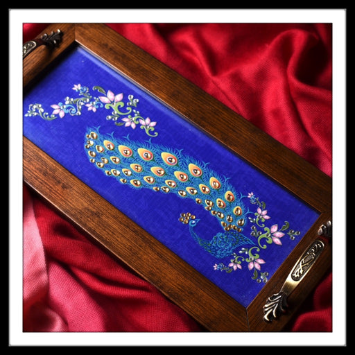 Persian Blue Peacock Long Tray - Footprints Forever