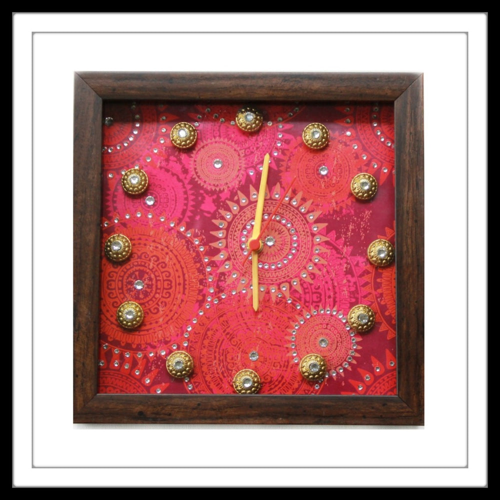 Bright Pink  Bedazzled Clock - Footprints Forever
