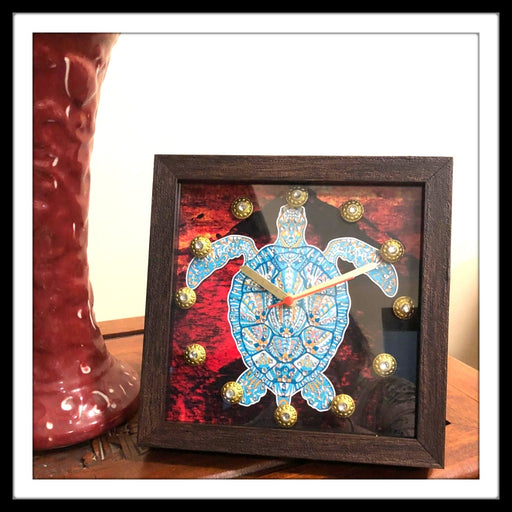 Abstract background Turtle Clock - Footprints Forever
