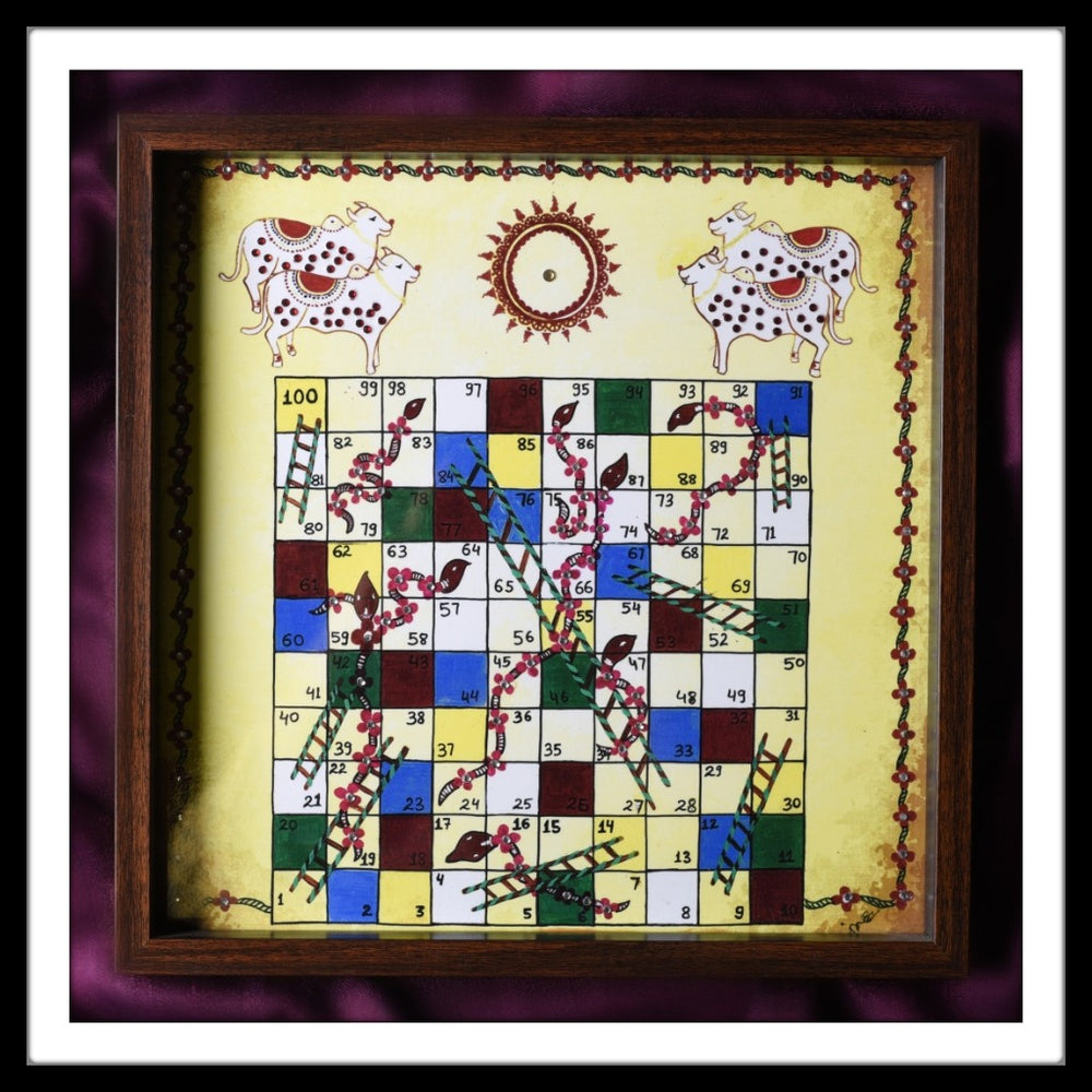 Pichwai Snakes & Ladder Tray - Footprints Forever