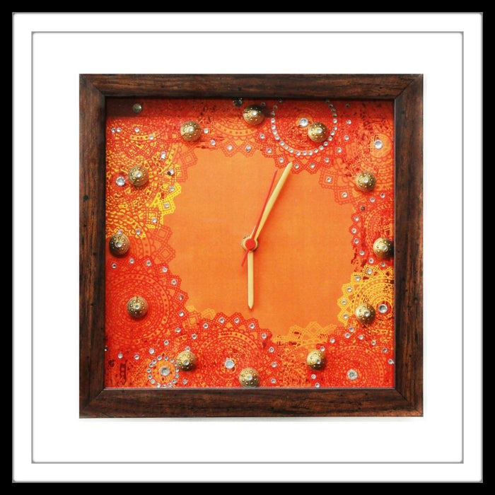 Orange Bedazzled Clock - Footprints Forever
