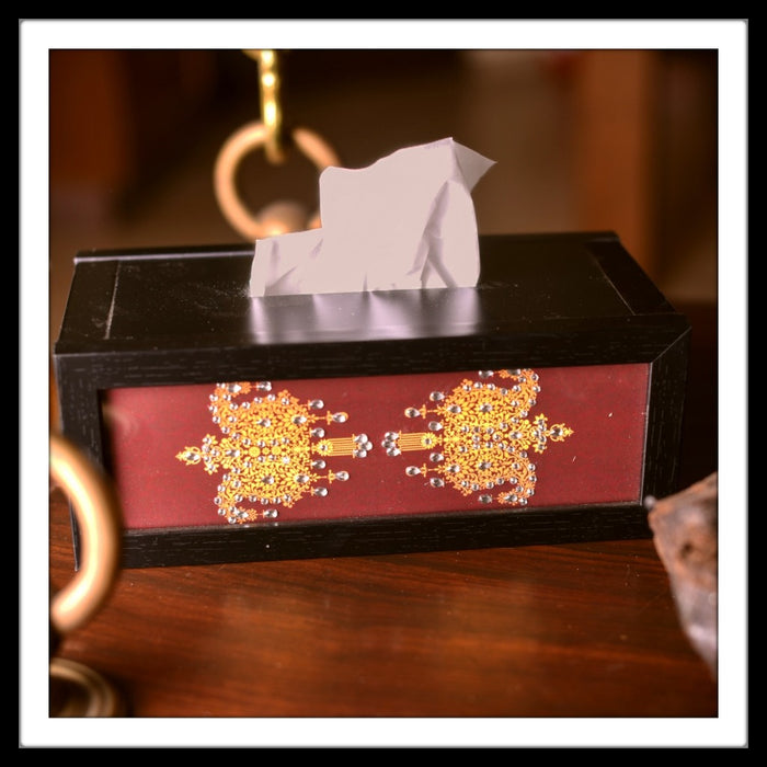 Wooden tissue box with maroon paisley print