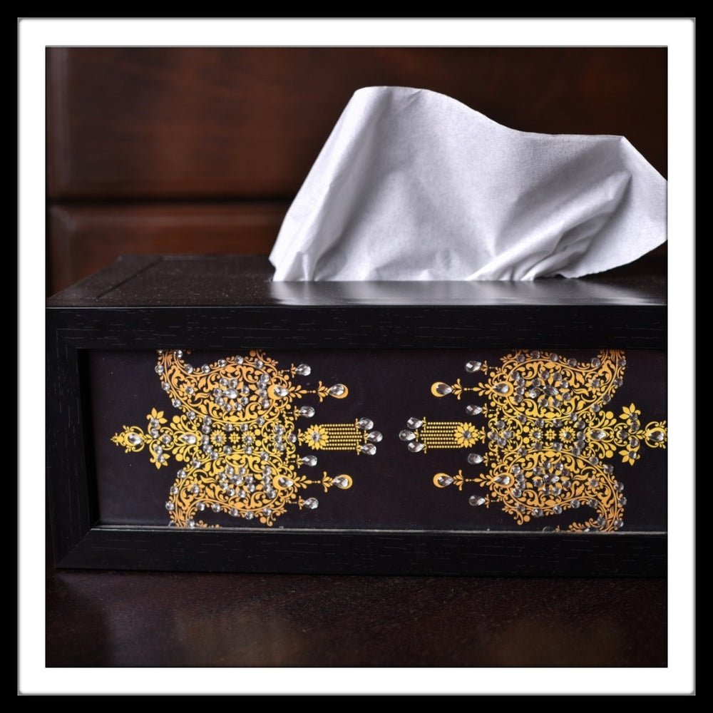 Black Paisley Tissue Box - Footprints Forever