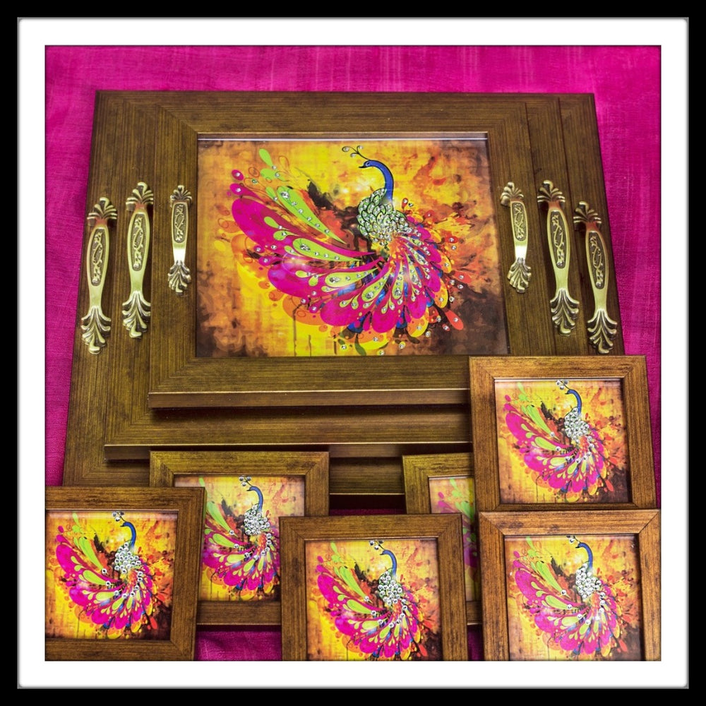 Pink & Yellow Peacock Tray Set with Coasters - Footprints Forever