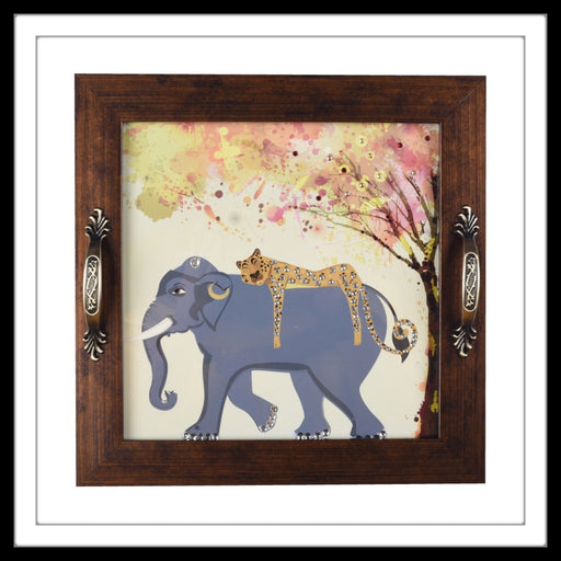 handmade wooden tray with Cheetah on Elephant print hand embellished with crystals
