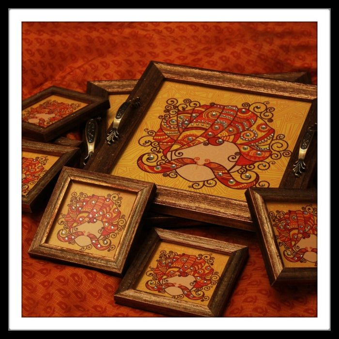 Rajasthani Man Tray and Coasters - Footprints Forever