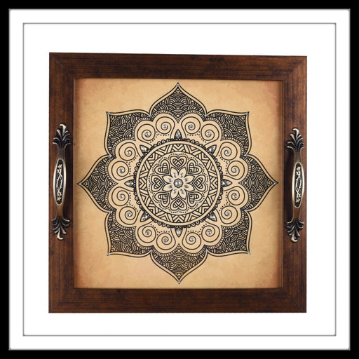 handmade wooden beige and black tray with mandalas print, hand embellished.